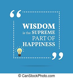 Inspirational motivational quote Wisdom is the supreme part...