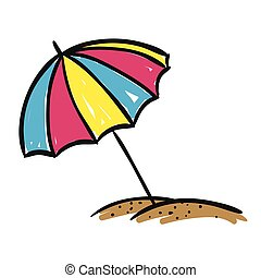 Vector Sunshade - Vector Illustration of a Hand Drawn...