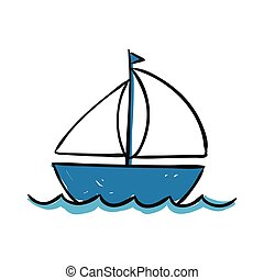 Vector Sailing Ship - Vector Illustration of a Hand Drawn...