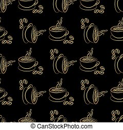 coffee cup seamless - Gold coffee cup seamless on black...