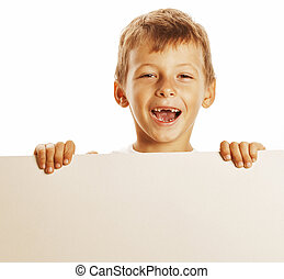 little cute boy holding empty shit to copyspace isolated...