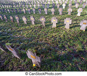 cementerio, aurisina, austro-hungarian, mundo, guerra,...