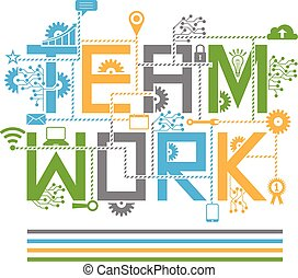 Teamwork design style concept. Vector graphic design illustration.For corporate business, management, planning, organization.Uses in website page, banner or print media