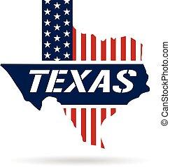 Texas patriotic map. Vector graphic design illustration