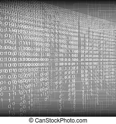 Abstract tech binary silver background