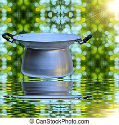 steamer pot on green nature with sun light and reflect