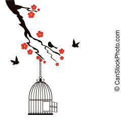 Birds Cage - floral branch with bird cage
