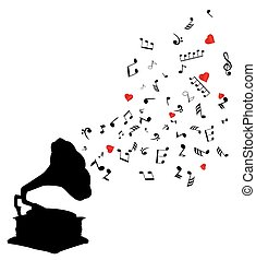Gramophone Notes - retro gramophone with notes