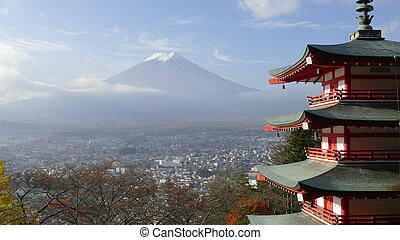Beautiful of Mt. Fuji with fall colors in Japan - The...