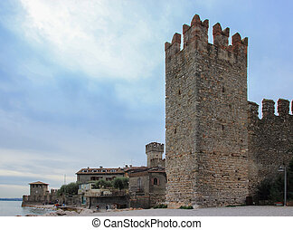 Scaliger Castle - fragment of the fortress wall with a...