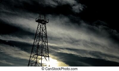 silhouette old oil tower - time lapse silhouette old oil...