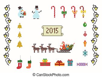 set of pixel art for christmas and new year