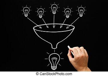 Teamwork Light Bulbs Funnel Concept