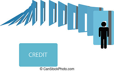 Credit card debt dominoes fall on symbol person - Credit...