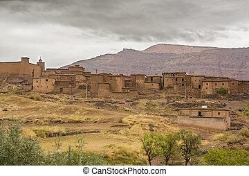 atlas, Montaña, pueblo, marruecos,