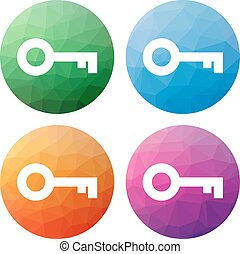 Set of 4 isolated modern low polygonal buttons - icons - for...