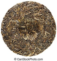 Young raw puerh cake backside isolated overhead view