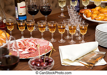 Table for the aperitif - Table for aperitif, glasses with...