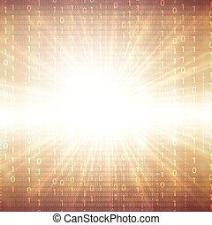 Abstract tech binary golden 3d background