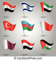 vector set of nine flags - waving simple triangle syrian,...