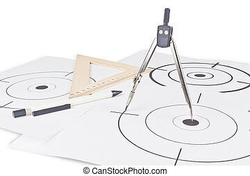 Crosshair on paper - Black round target with crosshair for...