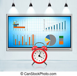 Tv screen with stock chart.