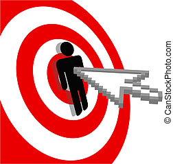 Internet arrow clicks stick figure bulls eye target -...