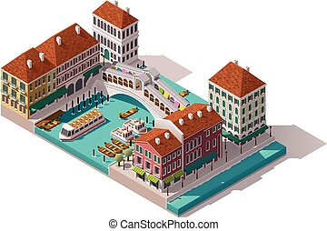 Vector isometric Venice street - Isometric Venice street...