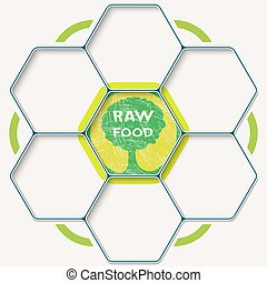 Set of seven hexagons for your text and raw food symbol