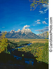 Grand Teton with Snake River in Wyoming