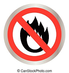 No Fire sign Prohibition open flame symbol