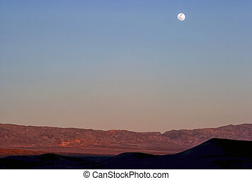 Moonrise over desert in Arizona