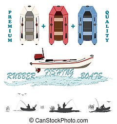 inflatable boats for fishing, hunt - set of rubber boats in...