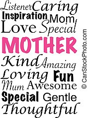 Mother word cloud vector - A vector illustration with words...