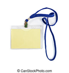 ID card - Blank ID or security card with blue neck strap