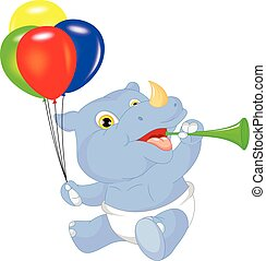 cute baby rhino cartoon holding bal - vector illustration of...