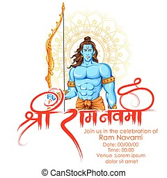 Lord Rama in Ram Navami background - illustration of Lord...