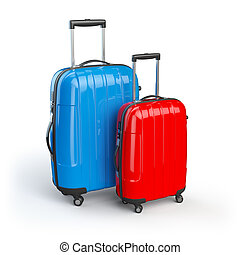 Luggage Two baggage suitcases isolated on white 3d...