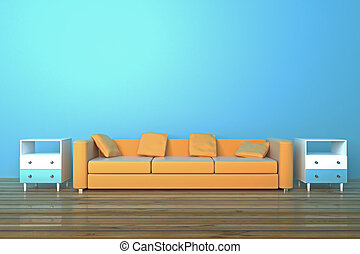 Sofa in blue room - Brown sofa and bedside-tables in blue...