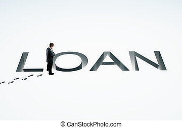 Loan concept white - Loan concept with businessman looking...
