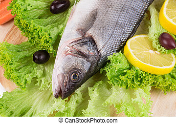 Fresh seabass fish on lettuce. Isolated on a white...