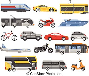 Transport Decorative Flat Icons Set - Transport decorative...