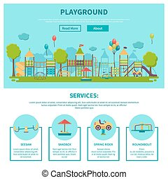 Outdoor Playground Illustration - Color illustration web...