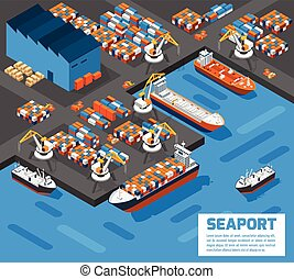 Seaport Isometric Aerial View Poster - Aerial view of harbor...