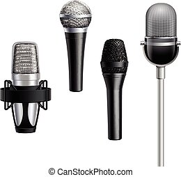 Microphone Collection In Realistic Style - Microphone...