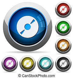 DVD disc button set - Set of round glossy DVD disc buttons...