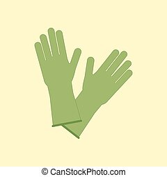 Latex Rubber Gloves on the yellow background. Vector...