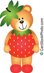 Strawberry Teddy Bear - Scalable vectorial image...
