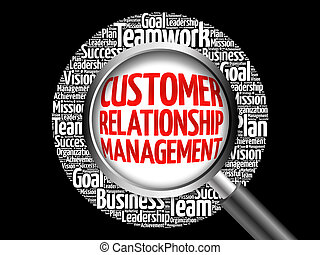 Customer Relationship Management word cloud with magnifying...