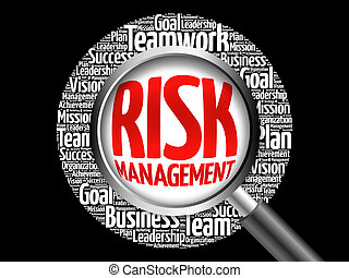 Risk Management word cloud with magnifying glass, business...